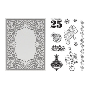 Couture Creations - Highland Christmas Joyful Stamp and Emboss Set (for A2 Cards)