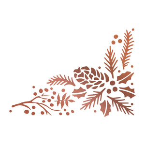 Couture Creations - Highland Christmas Pinecone Corner Hotfoil Stamp WH
