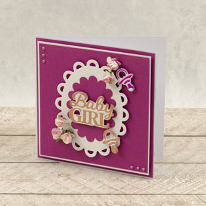 Baby Girl Sentiment Mini Cut, Foil and Emboss Dies (1pc)