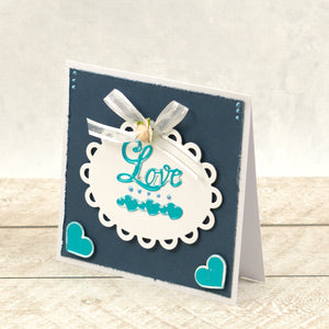 Love Sentiment & Heart Border Mini Cut, Foil and Emboss Dies (2pc)