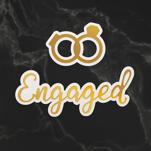 Engaged Sentiment & Rings Mini Cut, Foil and Emboss Dies (2pc)