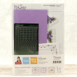 Dot & Do 3D Push Out Kit Flowery collection Precious Marieke - Purple Cake