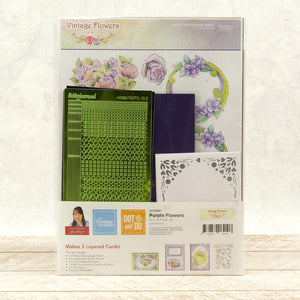 Dot & Do 3D Push Out Kit Vintage Flowers - Purple Flowers