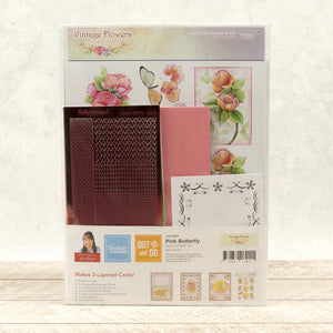 *Pre-Order* Dot & Do 3D Push Out Kit - Vintage Flowers - Pink Butterfly | Hobby Craft and Scrap