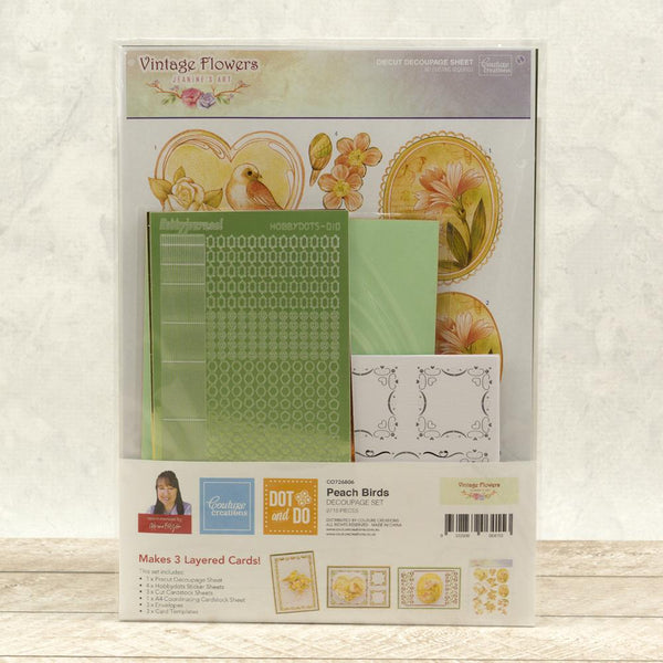 Dot & Do 3D Push Out Kit Vintage Flowers - Peach Birds | Couture Creations