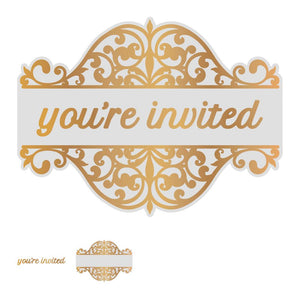 *Pre-Order* Cut, Foil and Emboss Die - Gentlemans Emporium - You're Invited Tag Set (1pc)