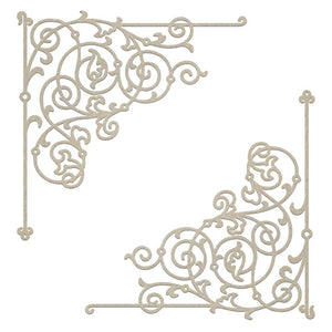 *Pre-Order* Chipboard - Gentlemans Emporium - Filigree Corner Set (2pc)