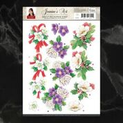 *Pre-Order* Jeanine's Art Christmas Classics Geranium Decoupage A4 Sheet | Couture Creations