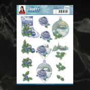 Jeanine's Art Frosty Ornaments Blue Rose Decoupage A4 Sheet