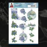 *Pre-Order* Jeanine's Art Frosty Ornaments Blue Rose Decoupage A4 Sheet | Couture Creations