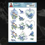 *Pre-Order* Jeanine's Art Frosty Ornaments Blue Birds Deocupage A4 Sheet | Couture Creations