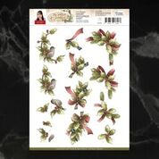 *Pre-Order* Precious Marieke The Nature of Christmas Holly Branches Decoupage A4 Sheet
