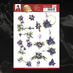 *Pre-Order* Precious Marieke Merry Bright Violet Florals Decoupage A4 Sheet | Couture Creations