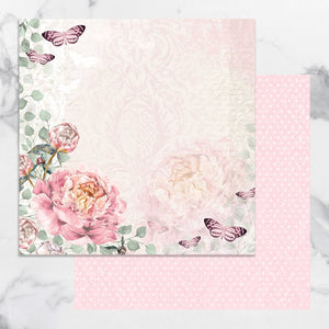 Paper - 12 x 12in Double Sided - Peaceful Peonies Sheet 1 (1pc)