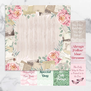 Paper - 12 x 12in Double Sided - Peaceful Peonies Sheet 8 (1pc)