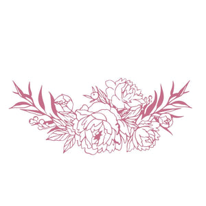 Mini Stamp - Peaceful Peonies - Bouquet Border (1pc)