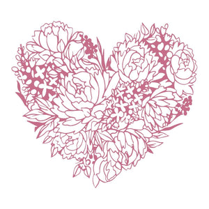 Mini Stamp - Peaceful Peonies - Floral Heart (1pc)