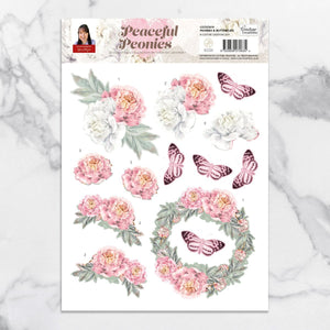 3D Diecut Decoupage Set - Peonies & Postcards - A4 sheet