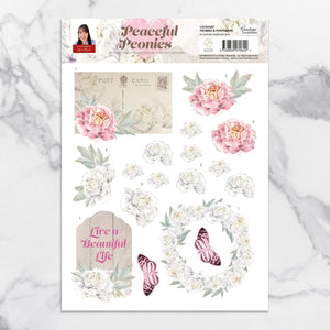 3D Diecut Decoupage Set - Peonies & Butterflies - A4 sheet