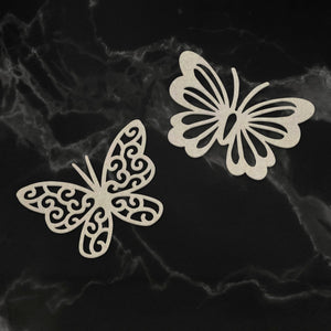 Chipboard - Peaceful Peonies - Dual Butterflies (2pc) - 56 x 38mm