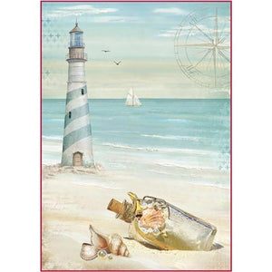 Stamperia Rice Paper Pack A4 - Sea Land Lighthouse