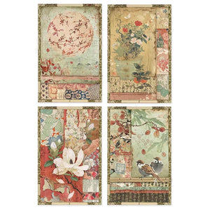 Stamperia Rice Paper Pack A4 - Japanese Postcards