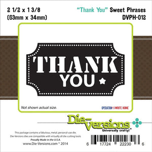 DIE - VERSON - SWEET PHRASES DIE - THANK YOU