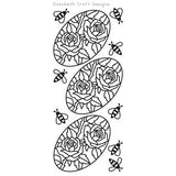 Elizabeth Craft Designs - Peel Off Stickers - Roses In Ovals - Black