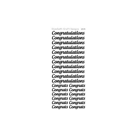 Elizabeth Craft Designs - Peel Off Stickers - Congratulations (Large) - Black