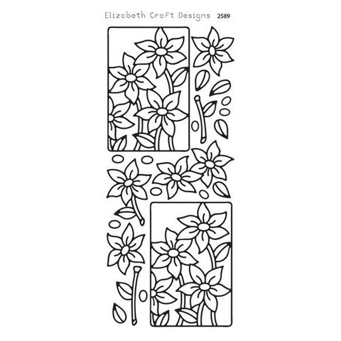 Elizabeth Crafts - Flower Quartet - Peel Off Stickers - Silver