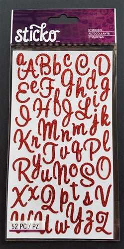 EK Success Stickers - Sweetheart Red Glitter SM Alphanumeric (52 Pcs)