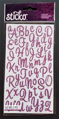 EK Success Stickers - Sweetheart Purple Glitter SM Alphanumeric (52 Pcs)