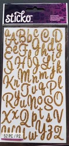 EK Success Stickers - Sweetheart Gold Glitter SM Alphanumeric (52 Pcs)