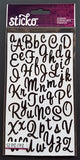 EK Success Stickers - Sweetheart Black Glitter SM Alphanumeric (52 Pcs)