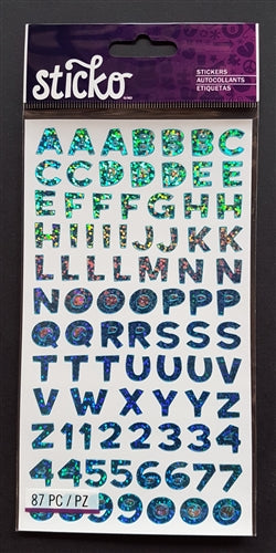 EK Success Stickers - Funhouse Blue Metallic Alphanumeric (87 Pcs)