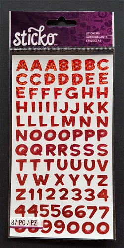 EK Success Stickers - Funhouse Red Metallic Alphanumeric (87 Pcs)