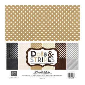 Echo Park - Dots & Strips - Neutrals Collection Kit (12 x 12 inches)
