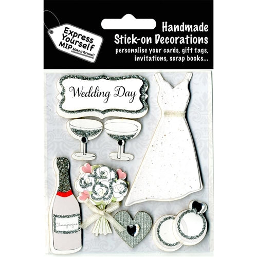 Express Yourself 3D Sticker - Wedding Day - Dress & Champagne
