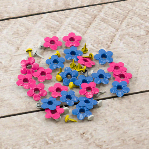 Paper Stud Eyelets Fancy Flowers & Centres Mix 1 48pk WH