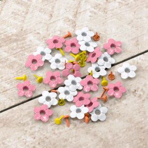 Paper Stud Eyelets Fancy Flowers & Centres Mix 2 48pk WH