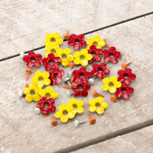 Paper Stud Eyelets Fancy Flowers & Centres Mix 3 48pk WH