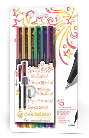 Chameleon Fineliner 6-Pen Primary Colors Set