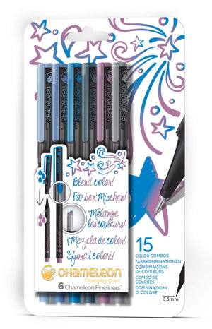 6 Pen Cool Colours