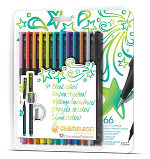 Chameleon Fineliner 12-Pen Bright Colors Set