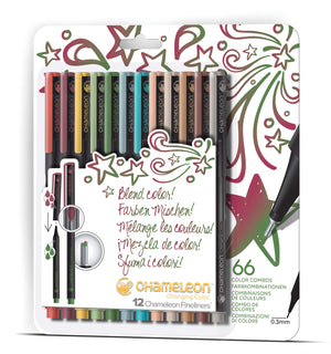Chameleon Fineliner 12-Pen Designer Colors Set