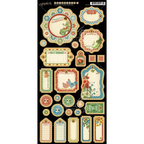 Graphic 45 - Home Sweet Home Journaling Chipboard