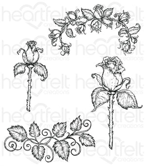 Heartfelt Creations - Cling Rubber Stamp - Rose Stem