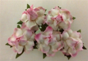 Handmade Mulberry Paper Flowers - 5 Stems (3 cm) - White with Light Pink Edge