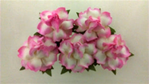 Handmade Mulberry Paper Flowers - 5 Stems (3 cm) - White with Pink Centre