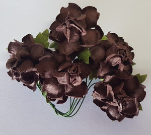 Handmade Mulberry Paper Flowers - 5 Stems (3 cm) - Dark Chocolate